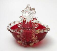 VINTAGE ITALIAN MURANO RUBY RED GOLD AVENTURINE ART GLASS BASKET OPEN SALT DISH