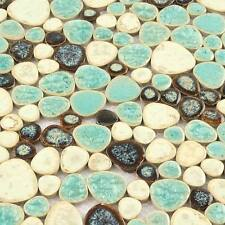 Mosaic Tiles Green Pebble Mosaic Ceramic Tiles Bath Room Flooring Pool(11 PCS)