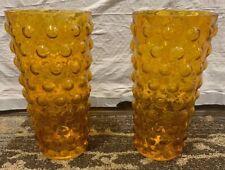 """Set Of (2) Yellow Glass Vases 9"""" X 4.5"""""""