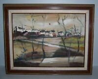 """Vintage Framed Oil Painting of a Small Town 16"""" x 20 1/8"""""""