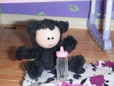 Troll Doll Toy & Purple Black Blanket for Fisher Price Loving Family Dollhouse