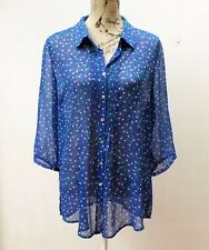 DUCHAMP Blue Blouse, Polka Dot, Hipster, Vintage Style, Size 14