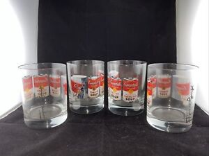 Set Of 4 Andy Warhol Campbells Soup Glasses From Late 1990s