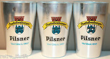 Pilsner Charlottenburger x 3 Metal Beer Glass Viel Gluck 1x 1972 2x 1969 Markill