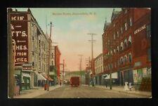 1900s Market Street Trolley Stores Eureka Bowling Barrels Amsterdam NY Postcard