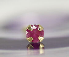 Natural Red Ruby 2mm 14K Solid Gold Nose Bone Stud Body Piercing Jewelry