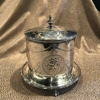 Antique English Silver Plate Footed Round Biscuit Box with Lid