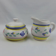 Caleca Giardino Creamer Sugar Bowl Hand Painted Pottery Italy