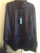 Hawes And Curtis Satin Shirt Size 18 Midnight Blue New With Tags