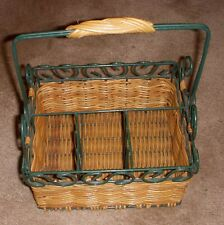 Wicker & Metal Divided Flatware Utensils Serving Caddy with handle Christmas