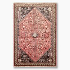 "6'9"" x 9'6"" Hand Knotted Wool Abadeh Oriental Area Rug Traditional Antique Rose"