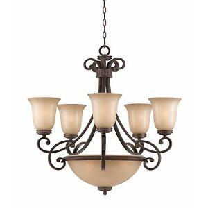 "English Bronze Chandelier Light 31"" Hanging Bowl Triarch 31438 Corsica Glass"