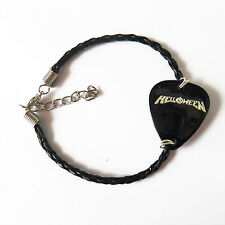 "plectrum medium Bracelet 7"" Helloween Leather Braided guitar pick"