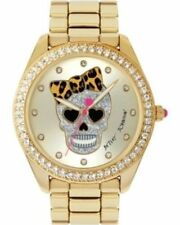BETSEY JOHNSON Ladies Leapard Skull Motif Gold Watch Ladies