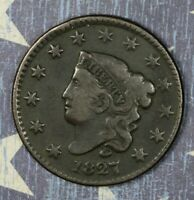 1827 Coronet Head Copper Large Cent Collector Coin, FREE SHIPPING