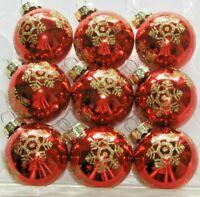 """Glass Christmas Mini Ornaments Red Shiny Balls Gold Glitter Snowflake 1 3/8"""" NEW"""