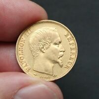 Pièce or 20 francs or Napoléon III tête nue 1860 A gold coin France