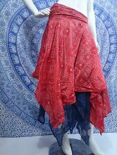 BOHO GYPSY TRIBAL DANCE HIPPY WRAP SKIRT DOUBLE LAYER RED BLUE GOLD ONE SIZE