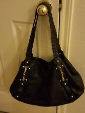 Vera pelle Italian Black Leather handbag with gold accents
