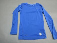 NIKE PRO COMBAT SIZE S BOYS BLUE ATHLETIC DRI-FIT COMPRESSION TOP SHIRT 726