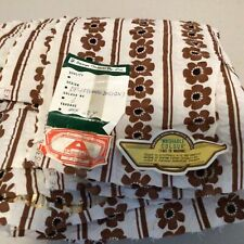 Vintage. Selwyn's Fabric. White with Brown Floral Design Cotton Material #317
