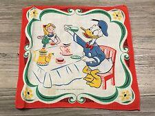 Vintage Disney Donald Duck with Alice Tea Party Childrens Hanky Handkerchief
