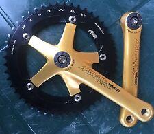 NEW gold/black MICHE pista track fixed gear bike cranks 170 or 165 144bcd 48t