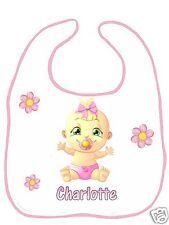 Bavoir bébé blanc bordure rose réf F08 personnalisé avec prénom