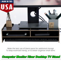 Computer Monitor Riser Desk Table LED TV Stand Shelf Desktop Laptop Mount Black