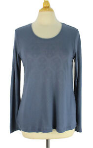 Gudrun Sjoden Large Pointelle Blue Top Long Sleeve Thin Knit Pullover