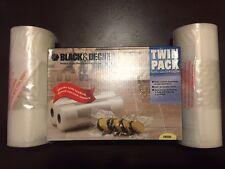 New Black & Decker Vacuum Food Saver Bags Seal Meal 2 Pack Rolls FoodSaver VB550