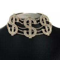 Trendy Women's Personalized  Money Sign Rhinestone/Beaded Choker Necklace