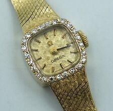 Omega Watch 14K Solid Gold Ladies Diamond Bezel Vintage Swiss Mesh Bracelet