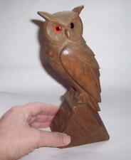 Antique/Vintage LARGE BLACK FOREST Wooden OWL FIGURE Glass Eyes Hand Carved Wood