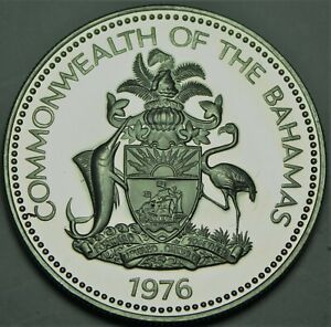 Bahamas Dollar, 1976 Silver Proof~Conch Shell~RARE~23,000 Minted