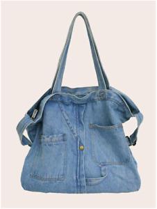 Blue Denim Large Capacity Tote Bag