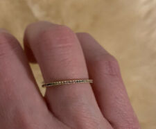 14k Yellow Gold Micro Pave Rainbow Sapphire Thin Eternity Ring Band