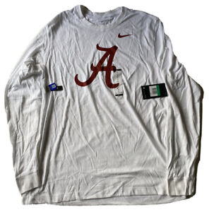 NIKE ALABAMA CRIMSON TIDE LS SHIRT SIZE XL  FOOTBALL WHITE NWT DS AO6376-100