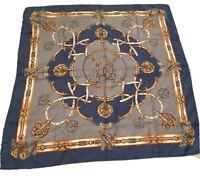 RARE! Vintage St. Michael 100% Silk Scarf Blue Gold Equestrian Theme Luxury