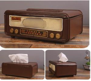 Retro Vintage Radio Tissue Box Cover Metal Antique Tissue Paper Sheets Brown