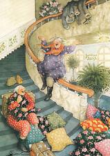 Postkarte: Inge Löök - Frauen rutschen das Treppengeländer herunter  / 61