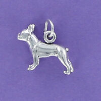 Boston Terrier Dog Charm 925 Sterling Silver for Bracelet Puppy Small Pet NEW