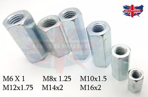 M6 M8 M10 M12 M14 M16 HEX FULLY THREADED STUD ROD CONNECTOR LONG NUT COUPLER