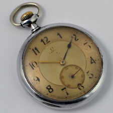 Authentic Omega Vintage Steel Pocket Watch And Gold Dial In Full Working