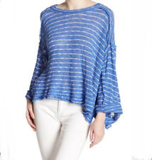 NEW Free People We The Free Size S Island Girl Boxy Hacci Knit Blue Striped Top