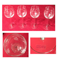VINTAGE Toscany Hand-blown Wine Glasses Etched Floral 8 oz ROMANIA 4-Piece Set