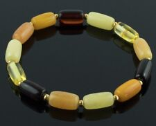Multicolored Baltic Amber Adult Gold Bracelet for Men Women Bernstein Armband