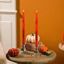 """Halloween Spiderweb 10"""" Taper Candles With Flickering Flame - Battery Operated"""