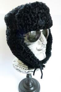 VINTAGE MENS BLACK PERSIAN LAMB USHANKA TRAPPER FUR HAT EAR FLAPS MED / LGE 59CM
