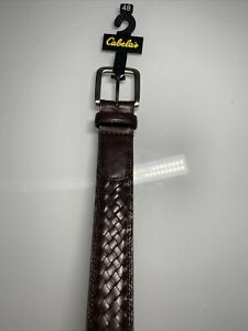 Cabela's Mens Belt Full Grain Cowhide Size 48 Brown Woven Braided Silver Buckle